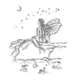 Fairy sitting on branch vector image