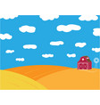 farm ripe field with grain warehouse background vector image
