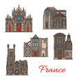 french travel landmark icons troyes architecture vector image vector image