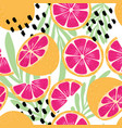 fruit seamless pattern grapefruit leaves flowers vector image vector image