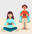 girl and guy with console joystick vector image vector image