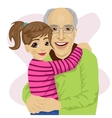 Grandfather hugging her cute granddaughter vector image vector image