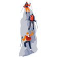 group climbers on rope in glacier vector image vector image