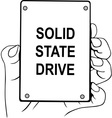 Hand holding solid state drive vector image vector image