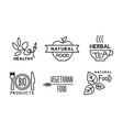 healthy natural vegetaran food linear logo set vector image