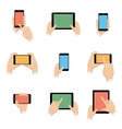 icons set smartphone and tablet in hands vector image vector image