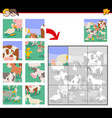 jigsaw puzzle game with cartoon farm animals vector image vector image