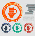 jug icon on red blue green orange buttons vector image vector image