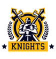 knight logo warrior in iron and heavy armor vector image vector image
