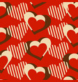 love hearts decorative seamless pattern over red vector image