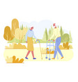 loving senior disabled couple spend time outdoors vector image vector image