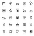 Map place line icons with reflect on white vector image vector image