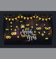 mardi gras frame with a gold mask and fleur-de-lis vector image vector image