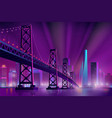 modern metropolis night landscape cartoon vector image vector image