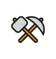 pick-axe and hammer icon on white background