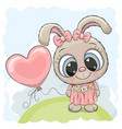 rabbit girl with balloon on the meadow vector image vector image