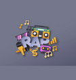 rap music style quote with papercut musical icon vector image vector image
