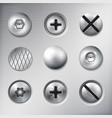 realistic attached fasteners set vector image