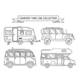 RV Campers and Trailer in Thin Line Art vector image vector image