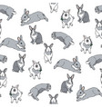 seamless pattern with cute grey bunny vector image vector image