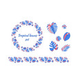 set different tropical leaves blue and pink vector image vector image