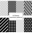 Set of 8 classic black - white seamless patterns vector image vector image