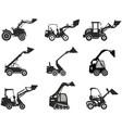 set skid steer loaders silhouette heavy vector image vector image
