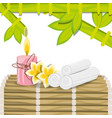 spa with towel candle and natural flower vector image vector image