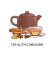 spicy tea type tea with cinnamon sketch vector image vector image