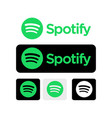 spotify logo set on white and black background vector image vector image