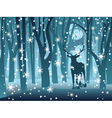 Stag in Winter Forest vector image
