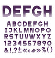 stylish striped font alphabet lettersnumbers vector image vector image