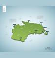 stylized map australia isometric 3d green map vector image