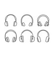 thin line headphones icons vector image vector image