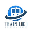 train logo original design blue railway transport vector image vector image