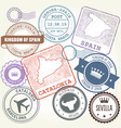 travel stamps set barcelona catalonia and spain vector image vector image