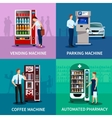 Vending Machines Concept Icons Set vector image vector image
