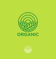 organic logo farmer products emblem leaves sun vector image