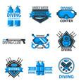scuba diving center or underwater hunt club vector image