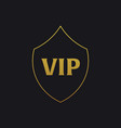 vip emblem with shield luxury vector image