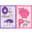 Children Alphabet with Funny Animals Ostrich and vector image