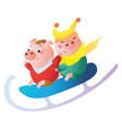 a funny piglets on a big sled vector image