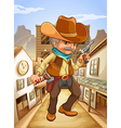 A man holding a gun with a hat outside the saloon vector image