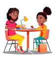afro american mother helps child do school vector image