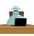 american hacker computer thief from usa statue of vector image vector image