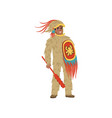 aztec armed warrior man character wearing in vector image vector image