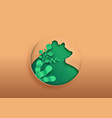 bear animal paper cut with green eco leaf vector image