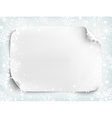 Blank white sheet of paper on winter background vector image vector image