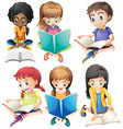 Boys and girls reading books vector image