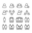 business people and public people line icon set vector image vector image